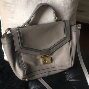 Leather gray on gray purse w/ handle & long strap